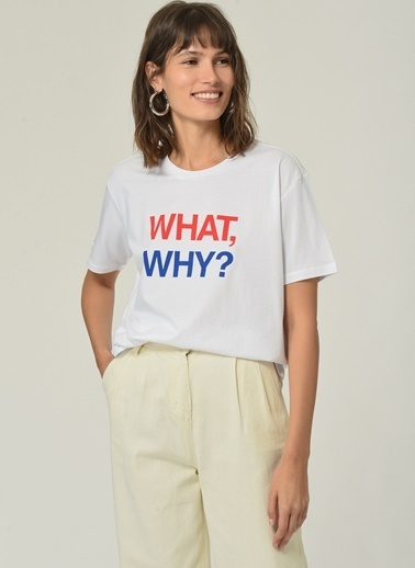 People By Fabrika Kadın Slogan Baskılı  Tişört PFKSS21TS0019 Beyaz